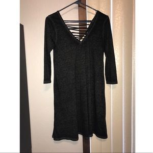 Charcoal Quarter Sleeve Dress